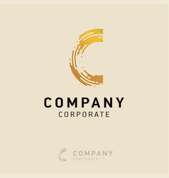 c company logo design with visiting card vector image