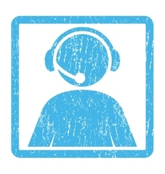 Call Center Operator Icon Rubber Stamp vector