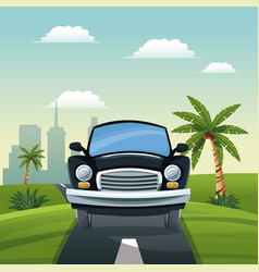 Car travel vacation road landscape city background vector
