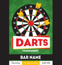 Cartoon darts tournament poster for bar vector