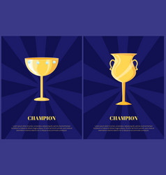 champion golden trophy cup vector image
