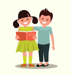 children read a book together vector image