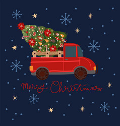christmas card with a red pickup truck vector image