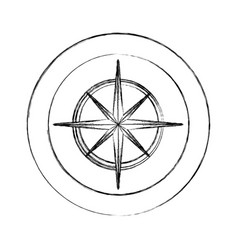 circular frame with silhouette compass star icon vector image