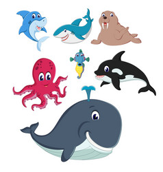 collection of the fauna and animals in the sea vector image