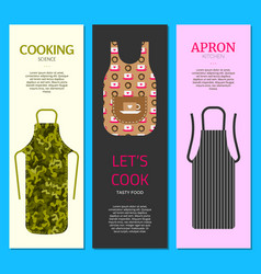Colorful kitchen aprons set of banners vector