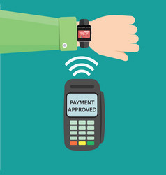 contactless payment concept - hand with smart vector image