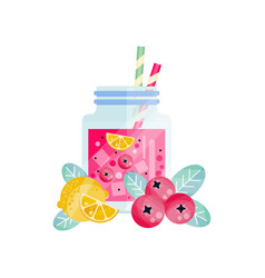 cowberry-lemon smoothie in glass jar with ice vector image