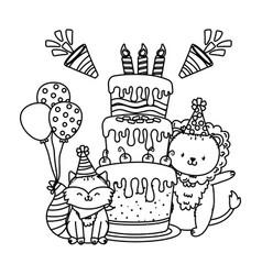Cute adorable animals cartoon vector