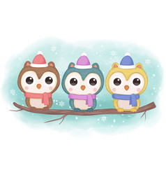 cute owls in winter season vector image