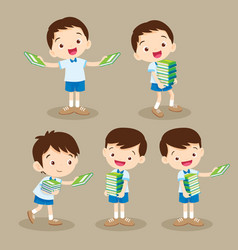 cute student boy carrying books vector image