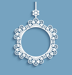 Cutout paper frame christmas decoration vector