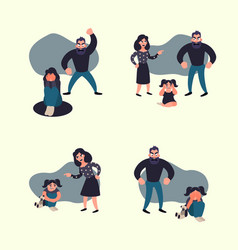 Domestic violence concept vector