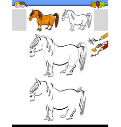 Drawing and coloring activity with horse or pony vector