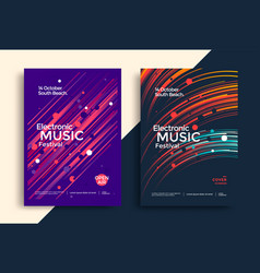 Electro music festival poster with gradient line vector