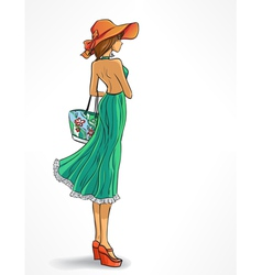 Elegant slender girl in hat vector image