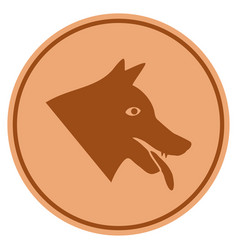 Evil dog bronze coin vector