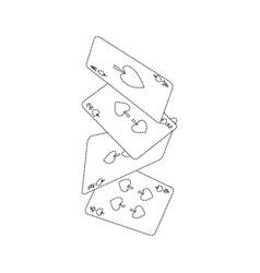 falling poker cards spade casino vector image
