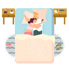 Family couple in bed vector