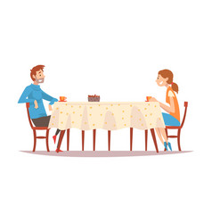 family couple sitting at kitchen table and vector image