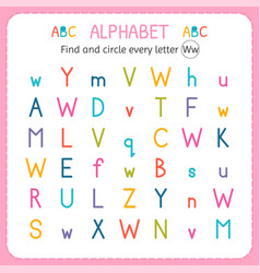 Find and circle every letter w worksheet vector
