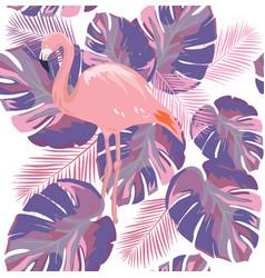 flamingo leaves vector image
