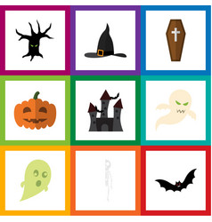flat icon celebrate set of witch cap fortress vector image