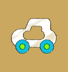 Flat shading style icon toy car vector