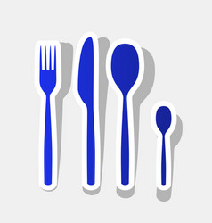 fork spoon and knife sign new year bluish vector image