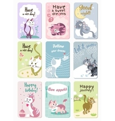 Funny Cats Cards Set vector