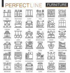 Furniture outline mini concept symbols interior vector