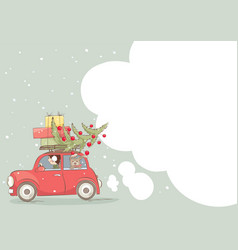 girl and dog are carrying gifts vector image