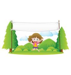 Girl standing under white banner in park vector