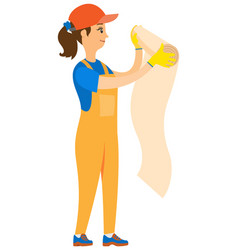 girl worker wallpapering holding roll vector image