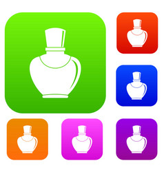 glass bottle with perfume set color collection vector image