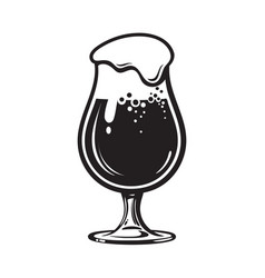 Glass of beer with foam hand drawn vector