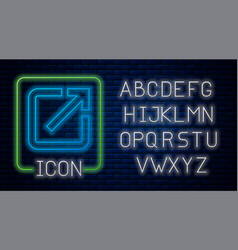Glowing neon open in new window icon isolated on vector