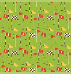 golf field flags hobby equipment cart player vector image