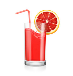 Grapefruit juice realistic glass with a straw vector