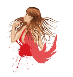 Grunge Girl in Red vector image