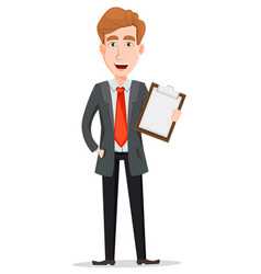 Handsome businessman in suit holding checklist vector