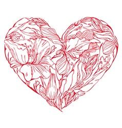 heart flowers 3 380 vector image