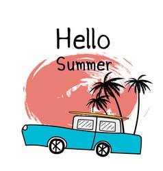 Hello summer holiday typographic vector