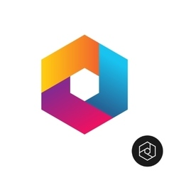 Hex tech logo abstract colorful style vector