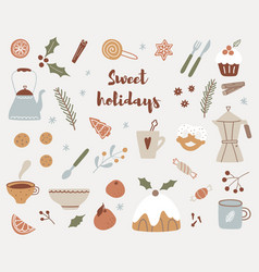 hygge christmas stickers set hand drawn winter vector image
