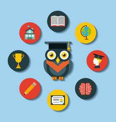 icons set graduate owl vector image