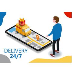 Isometry cargo delivery smartphone buyer van vector