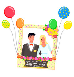 Just married composition for photo photozone vector
