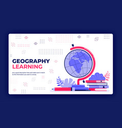 Landing page geography learning cartography vector
