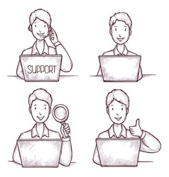 Man operator work in technical support service vector